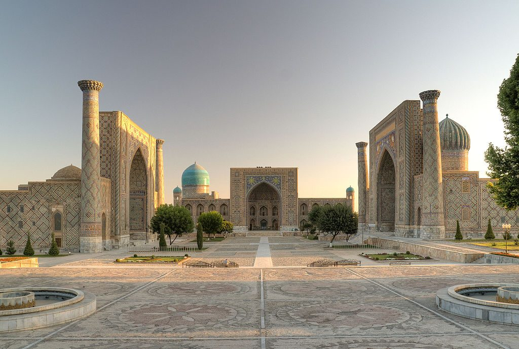 The famous Registan Square in Samarkand, cities of Uzbekistan