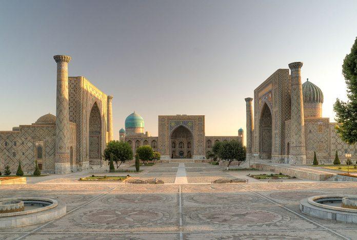 The famous Registan Square in Samarkand, cities of Uzbekistan