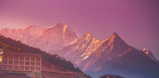 Amazing sunrise view of Namche Bazaar village