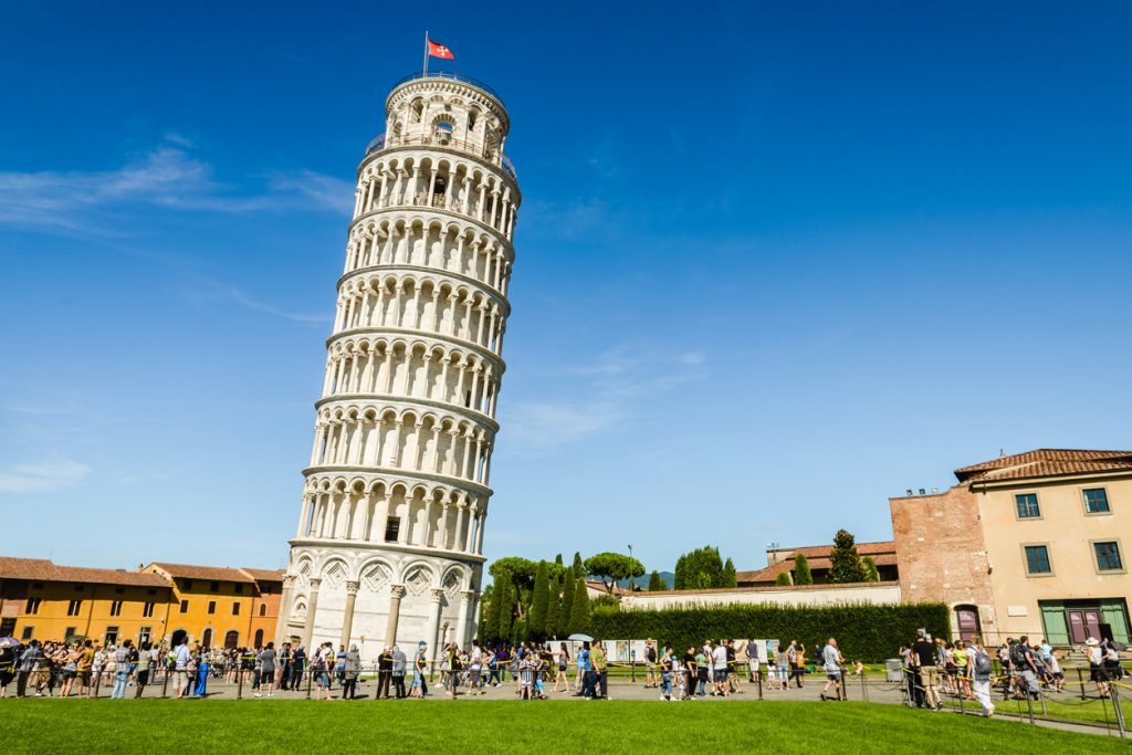 The Leaning Tower of Pisa in the Square of Miracles (Piazza dei Miracoli).