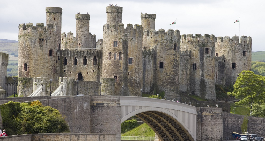 Fortified Towers of the Conwy Castle North Wales.