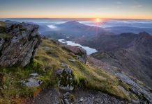 An amazing sunrise over the Snowdonia national park