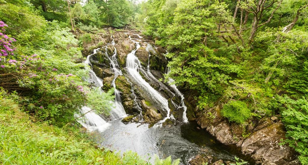 Part of the Swallow Falls in Snowdonia National Park. Betws y Coed, Gwynedd, Wales, United Kingdom.