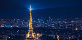 A view of Paris at night with the illuminated Eiffel Tower - experiences in Paris