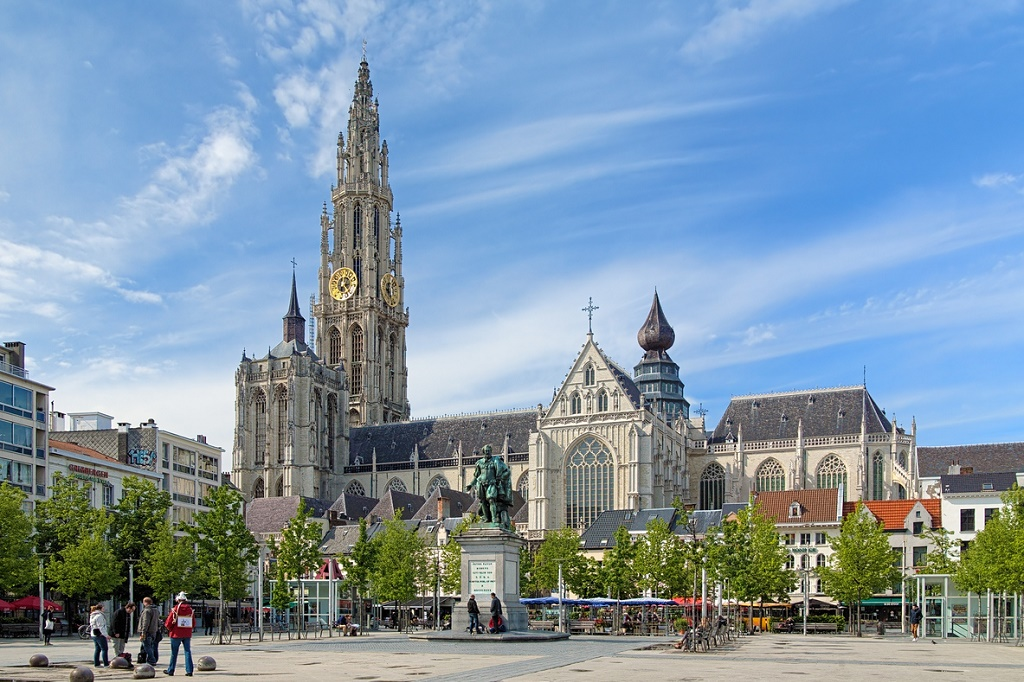 Cathedral of Our Lady and statue of Peter Paul Rubens in Antwerp, Belgium visit antwerp