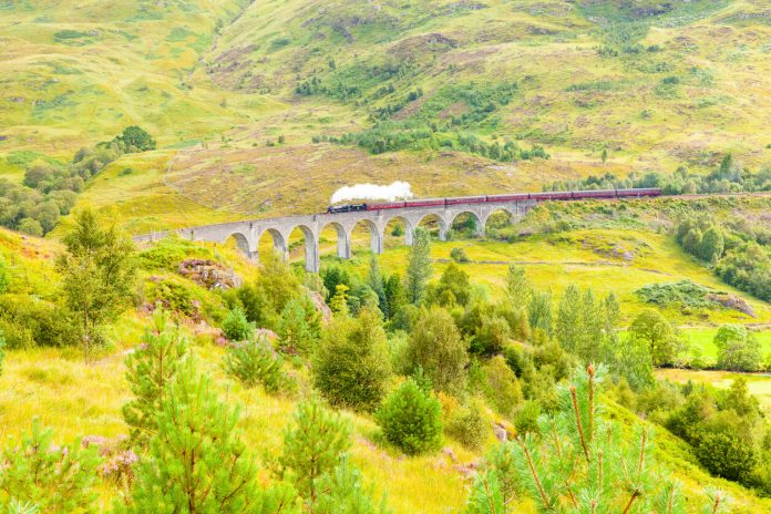 The famous Glenfinnan viaduct carries the railway to Glenfinnan Station Scotlannd
