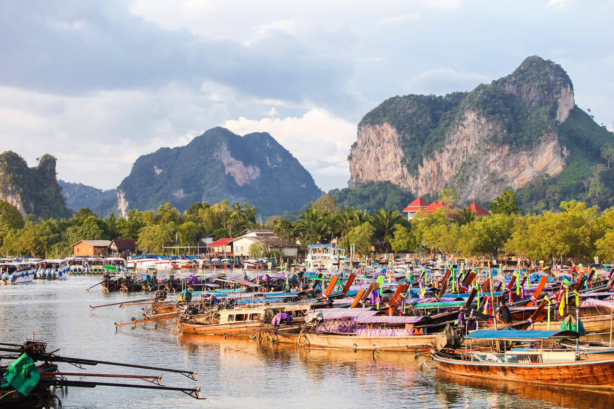 Longtail boats at Ao Nang Bay - places to see in Krabi