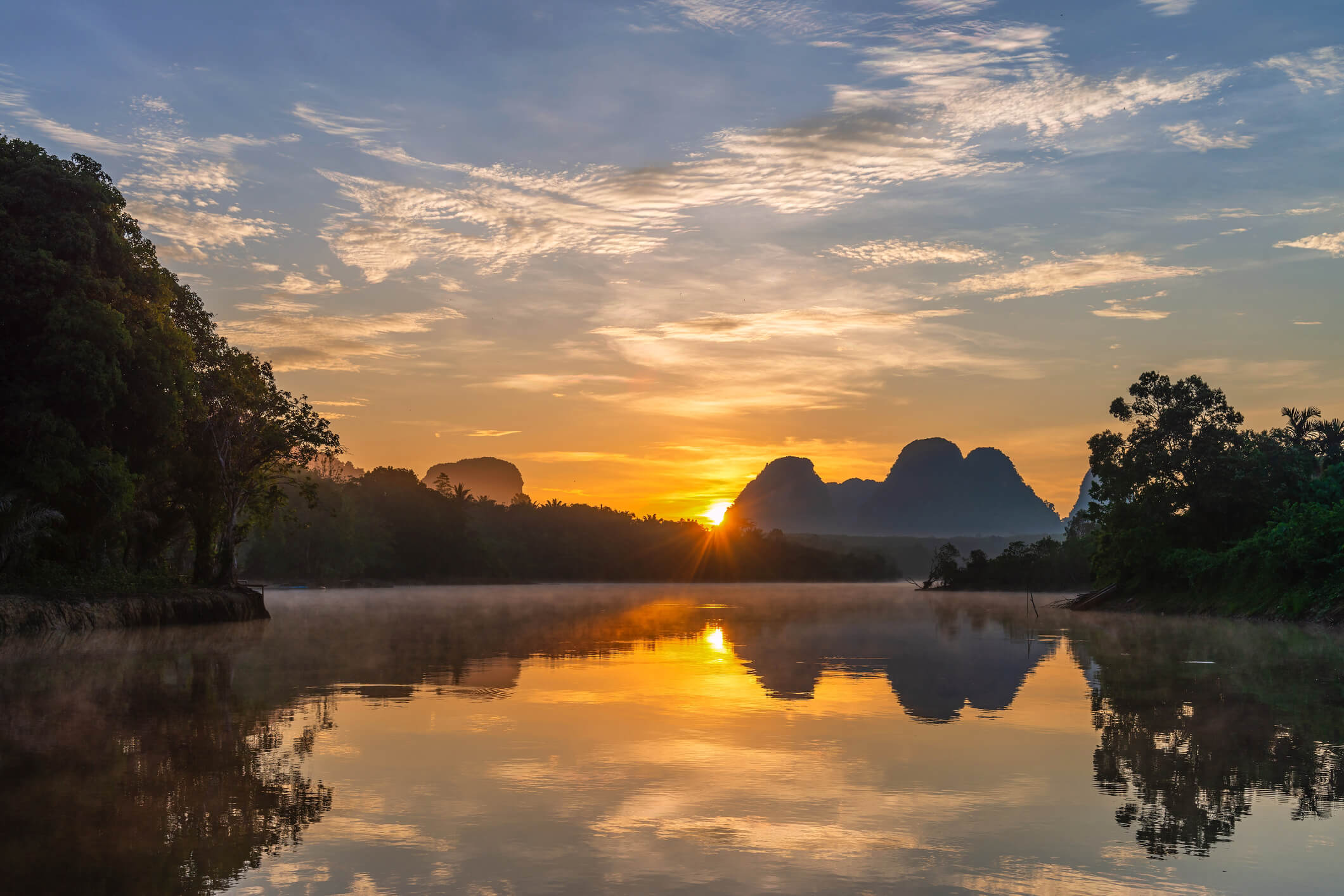 Sunrise over the lake at Nong Thale village - places to see in Krabi