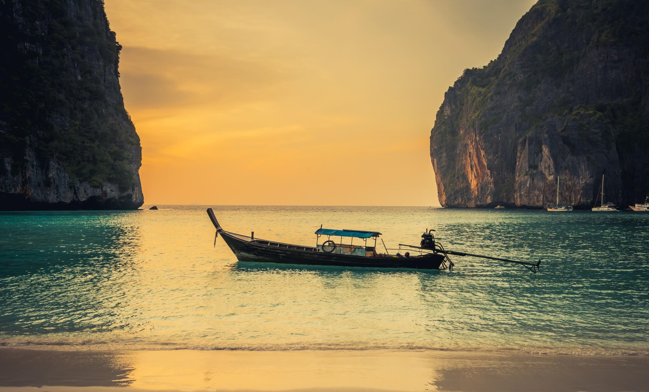 Sunset at Maya Bay - places to see in Krabi