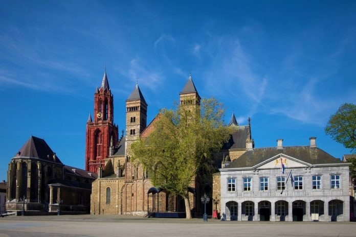 Saint Servatius Basilica and Saint John's church and the Military Guard House at the Vrijthof Square in the city of Maastricht in The Netherlands. Underrated cities in Europe
