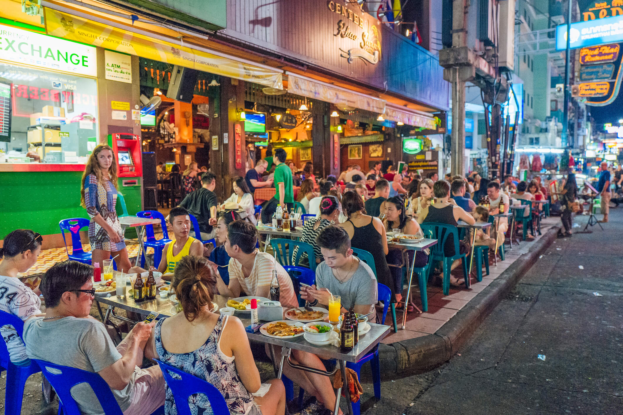 Plenty of outdoor seating at Khao San - best street food in Bangkok