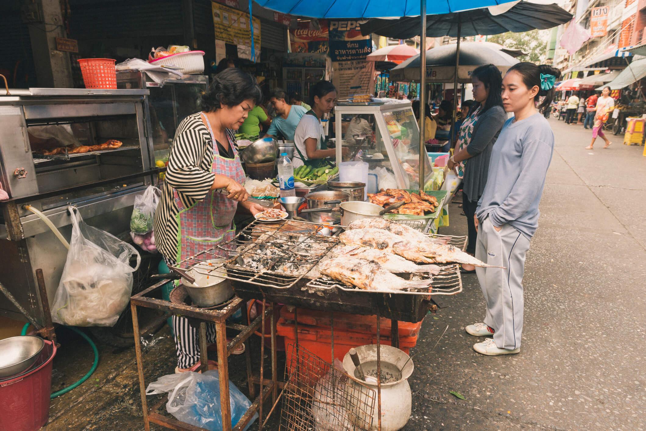 Street food stalls in Silom - best street food in Bangkok