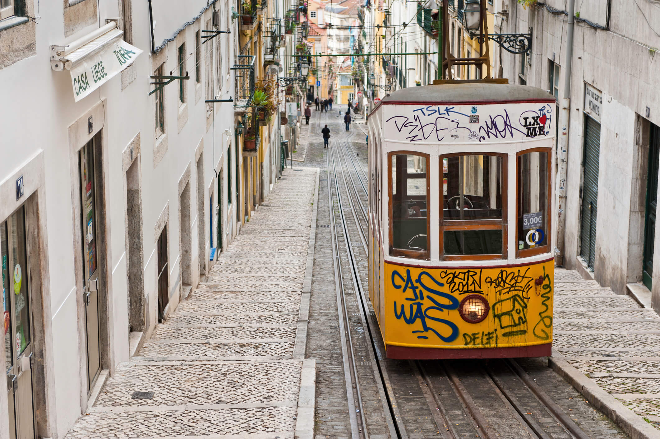 A funicular going up bairro alto district - what to see in Lisbon