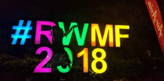 The RWMF 2018 coloured sign - Rainforest World Music Festival