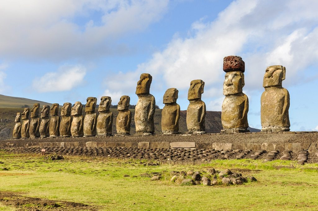Ahu Tongariki site in Easter Island, Chile