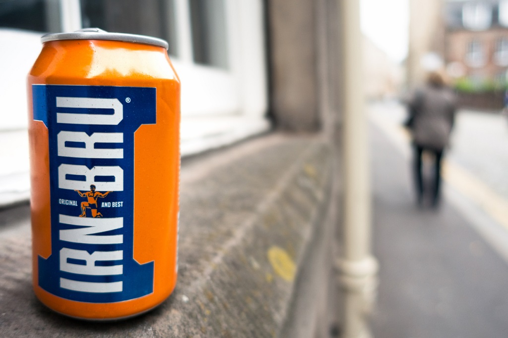 An empty can of Irn Bru, the popular Scottish soft drink