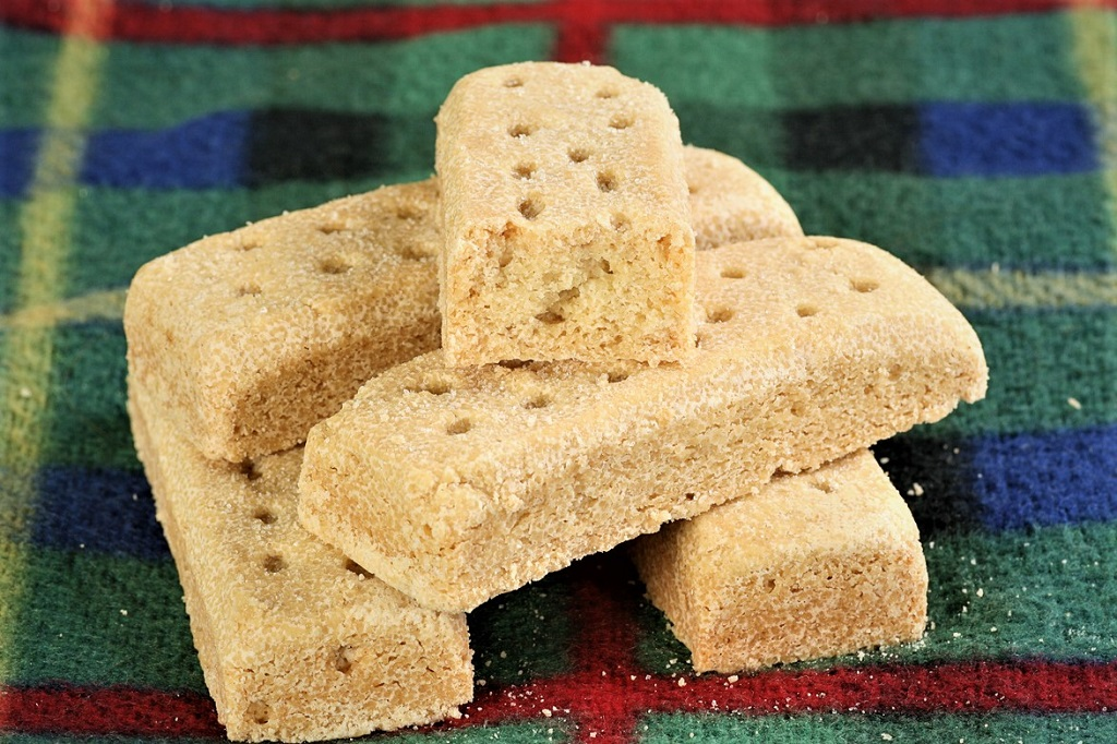 delicious butter shortbread fingers on a tartan cloth
