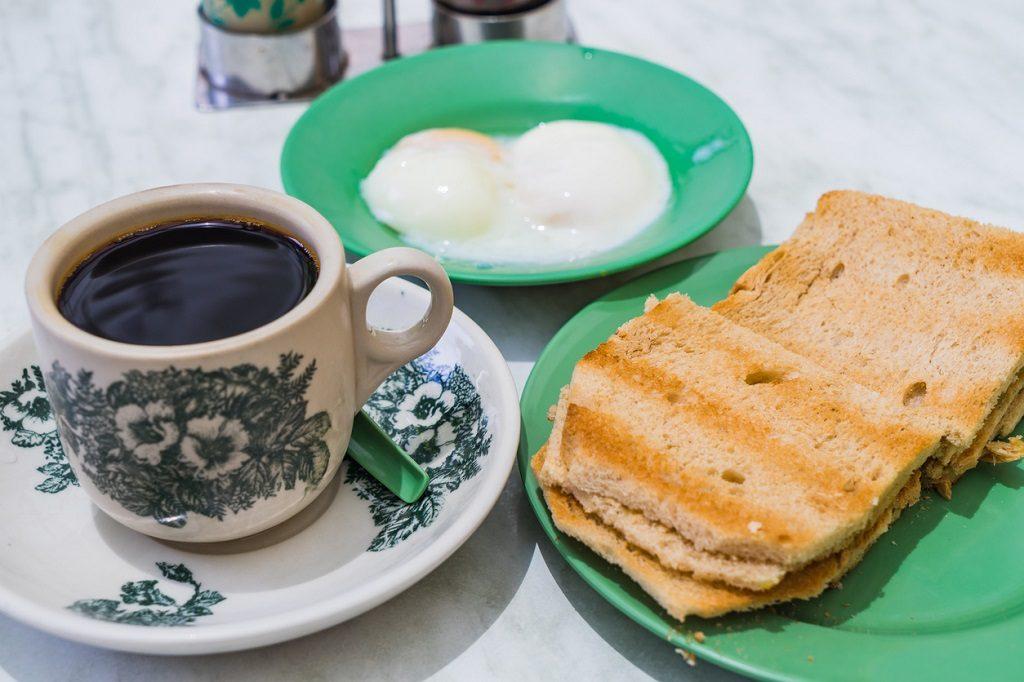Singapore Breakfast Kaya Toast, Coffee bread and Half-boiled eggs