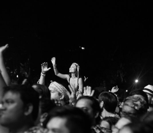 Audience cheering at a music festival