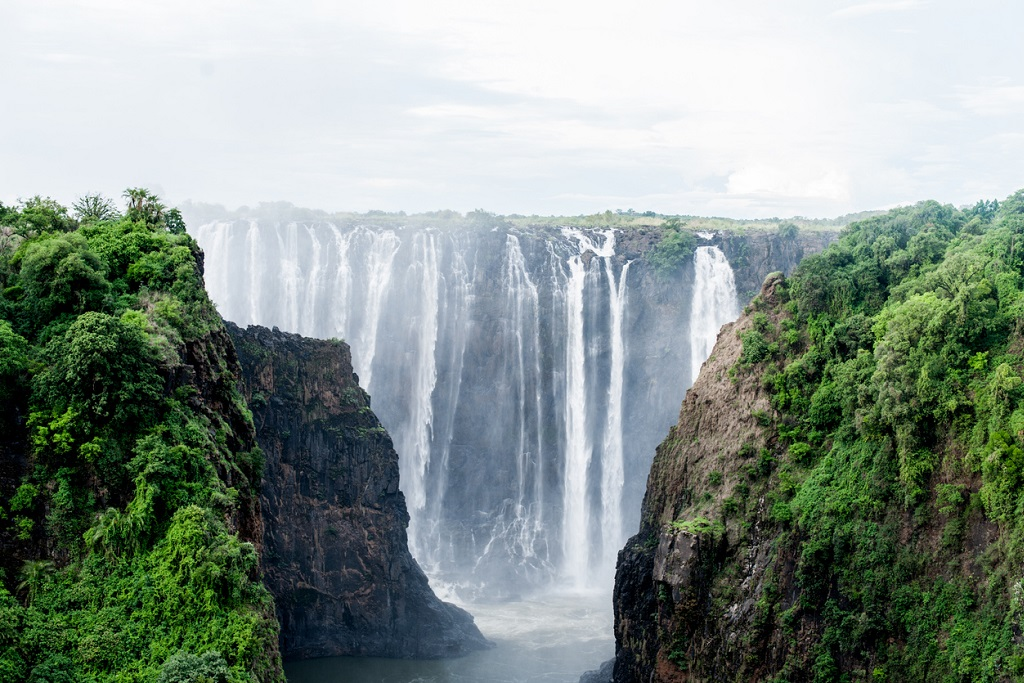 Victoria Falls, the smoke that thunders or Mosi-oa-Tunya. Border between Zambia and Zimbabwe. Africa