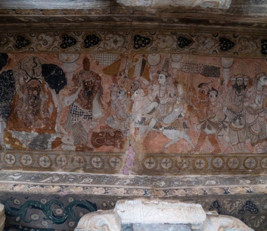 Paintings on the wall at the Veerabhadra Temple - spiritual exploration