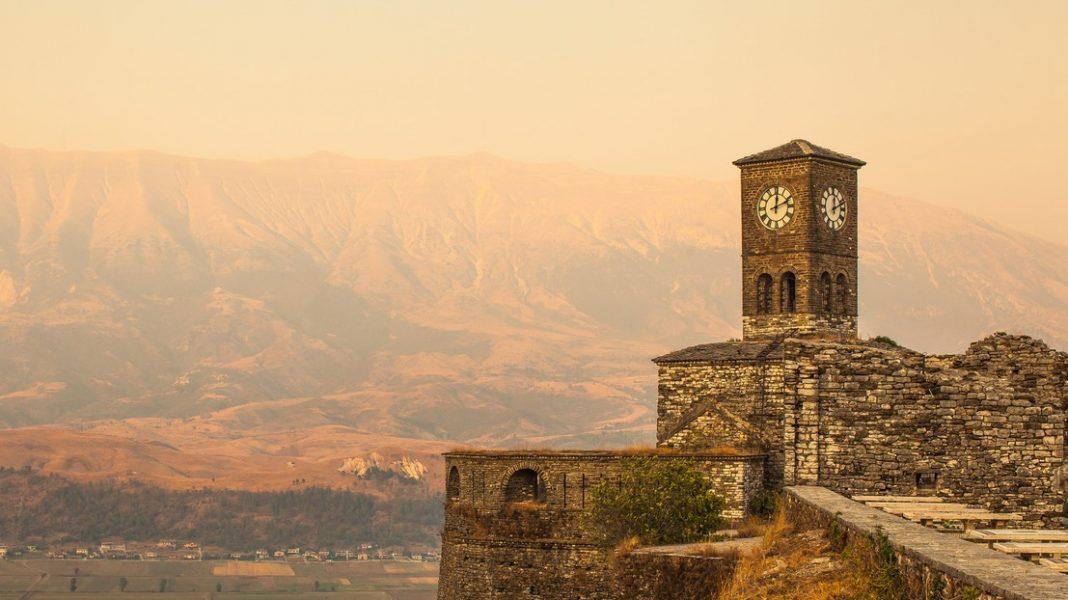 Albania, Gjirokastër Citadel, Church Clock Tower