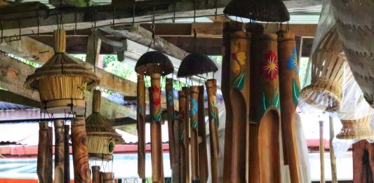 bamboo wind chimes - - arts and crafts of Sabah