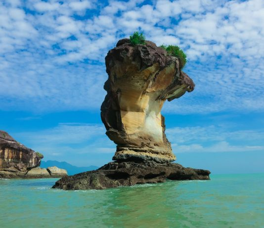 Limestone serpent rock in the waters of Bako National Park