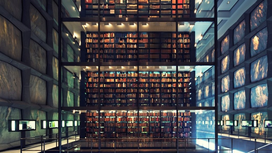 wonderful library bulit in 1960s - marble facade with hudge glass cube in the middle