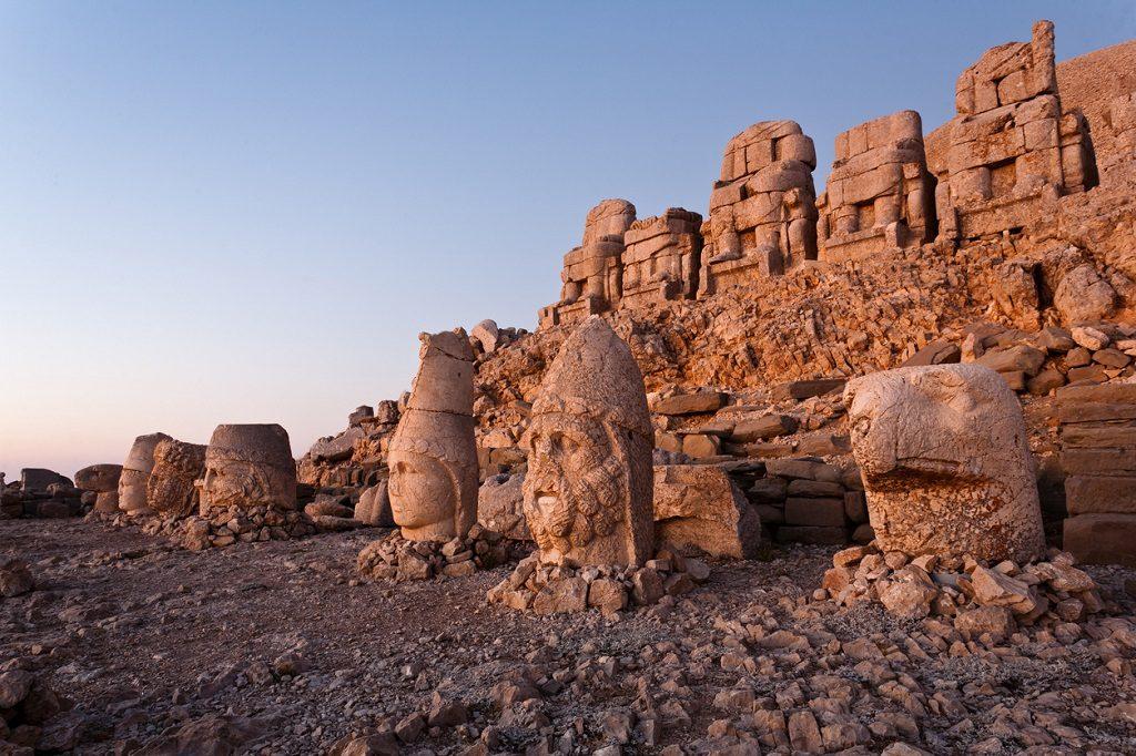 Toppled heads of the gods at the top of Nemrut dagi in Turkey.