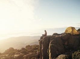 camping on a mountain top