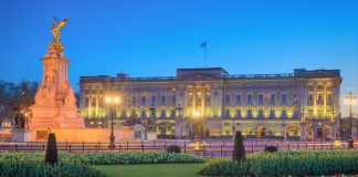 Buckingham Palace during twilight