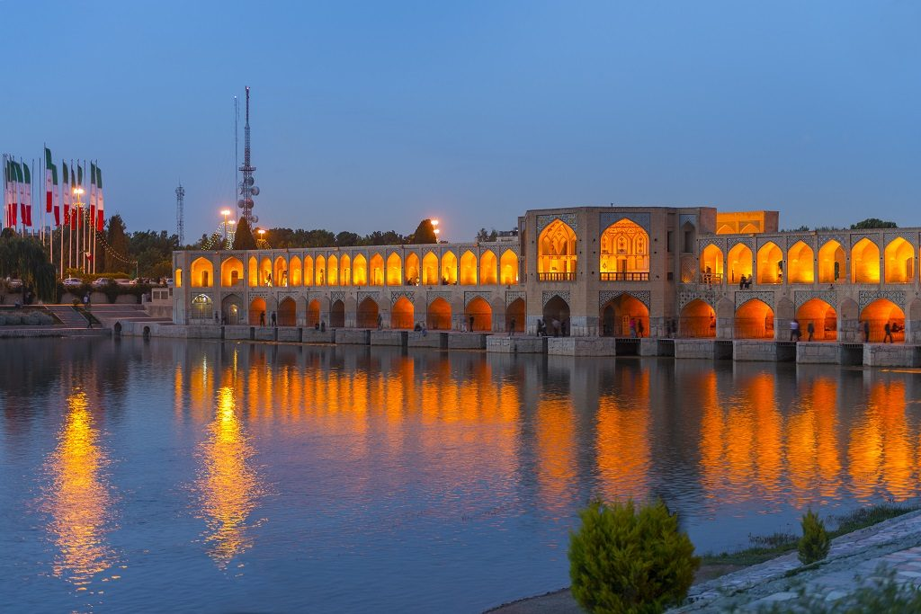 Khaju Bridge in Isfahan,Iran.