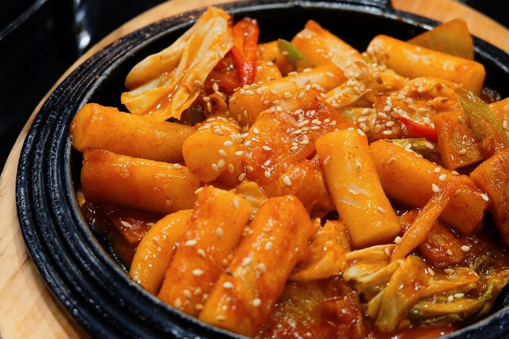 Tukbokki Korean hot and spicy rice cake. Korean food.