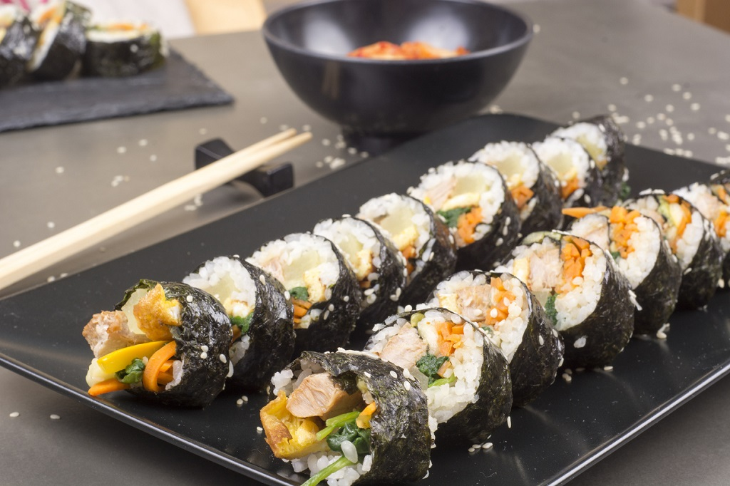 Kimbap or gimbap with tuna korean food