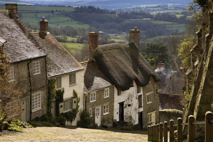 Gold Hill in Shaftesbury, Dorset, England