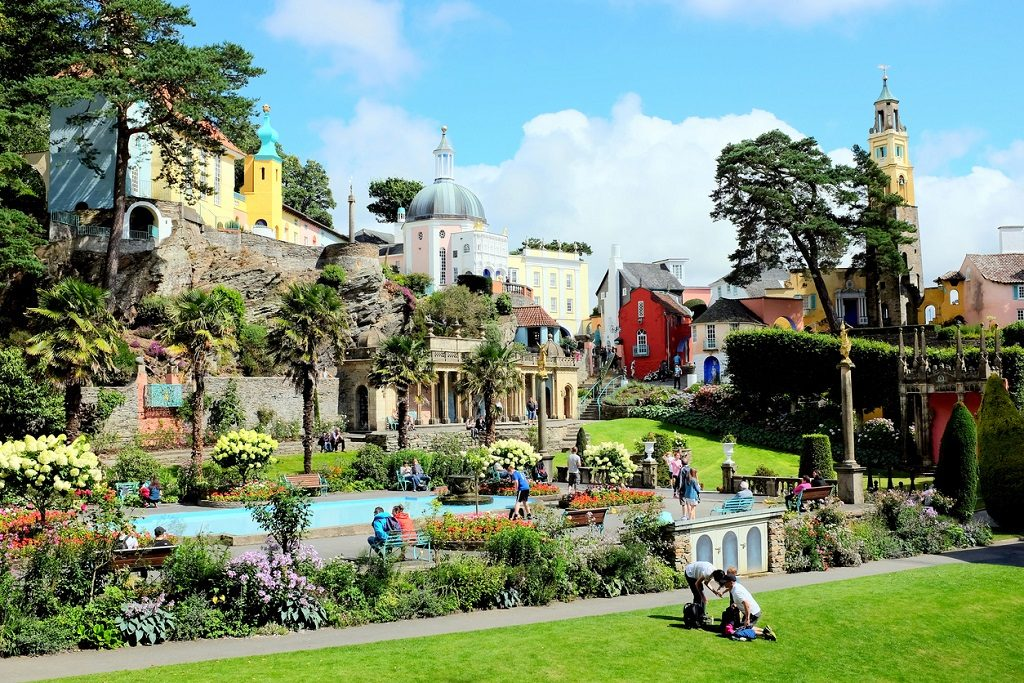 The colorful village and gardens of Portmeirion in North Wales, most beautiful places in UK
