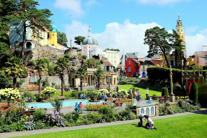 The colorful village and gardens of Portmeirion in North Wales.
