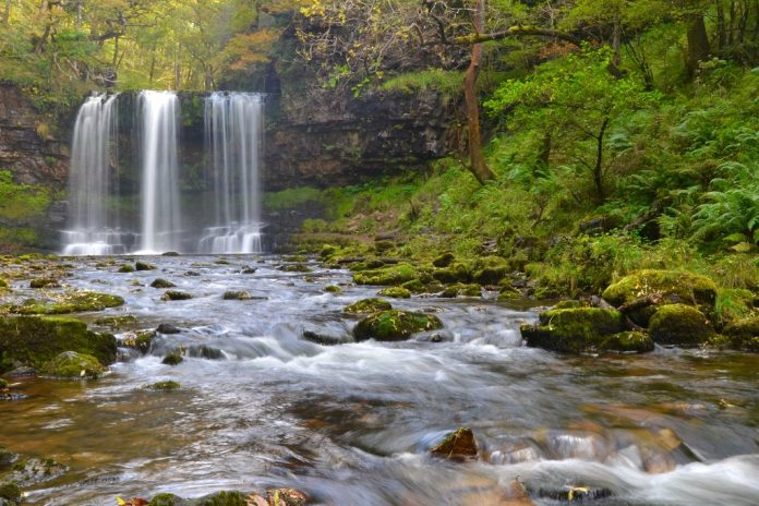 Sgwd yr Eira waterfall in the Brecon Beacons National Park, Wales,