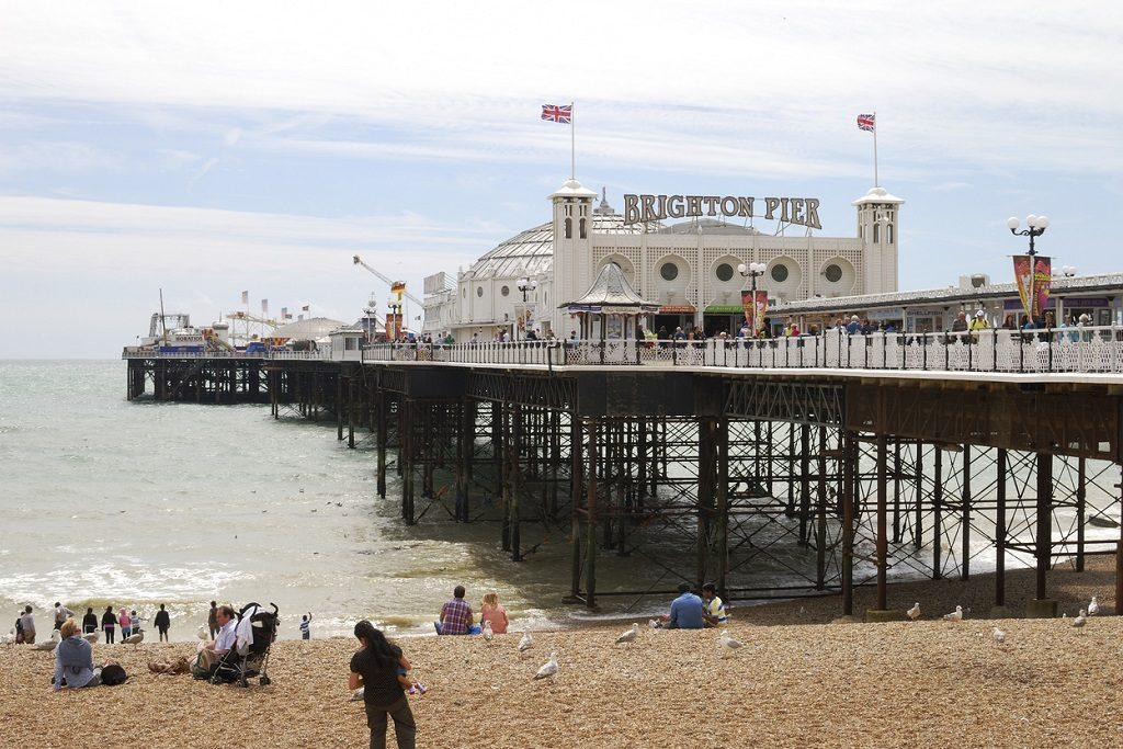 Brighton Pier and beach. Sussex. England