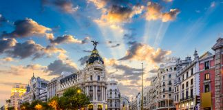 Madrid, Spain cityscape at Calle de Alcala and Gran Via - places to visit in Madrid