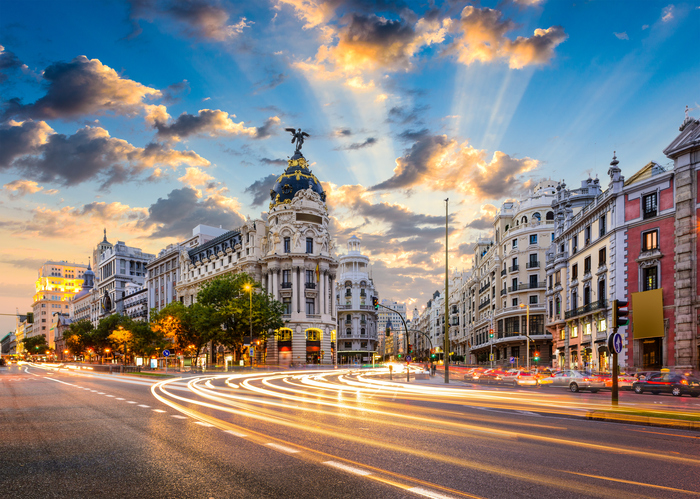 Madrid, Places to visit in Spain cityscape at Calle de Alcala and Gran Via - places to visit in Madrid