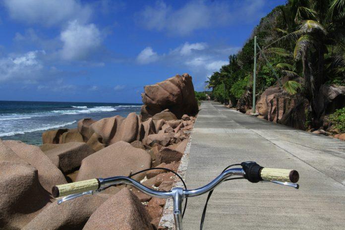 Cycling in Seychelles islands, La Digue.