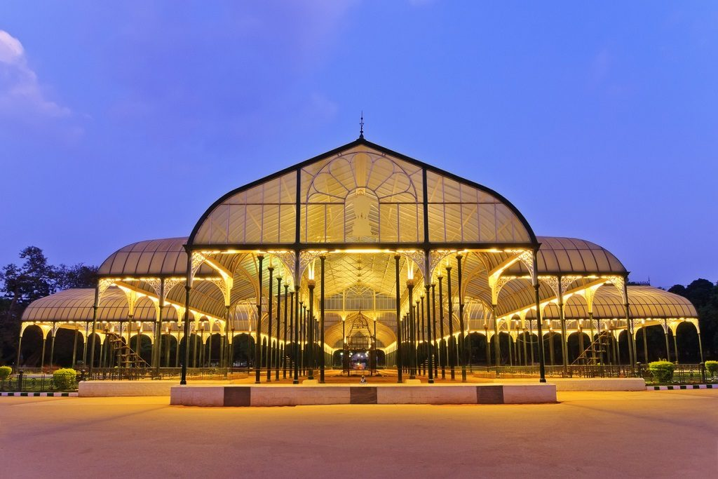night scene of lalbagh, a public park in Bangalore City, India