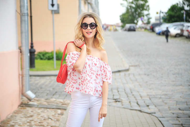 Off-shoulder top with white jeans - travel outfits for women