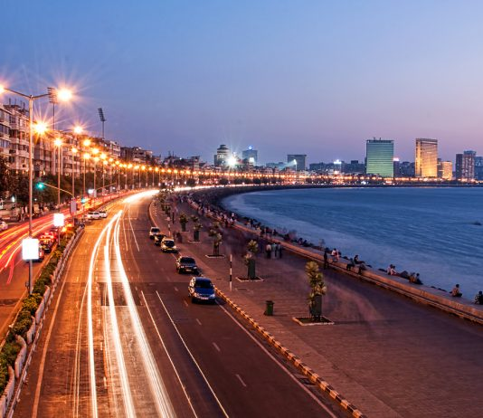 Panoramic View of Marine Drive at dusk, Mumbai, India