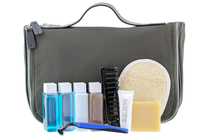 Toiletries packing in black pouch for business packing