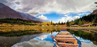 Boat on a lake in Pakistan - travelling to Pakistan