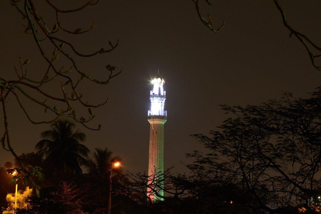 The Shaheed Minar at night Kolkata