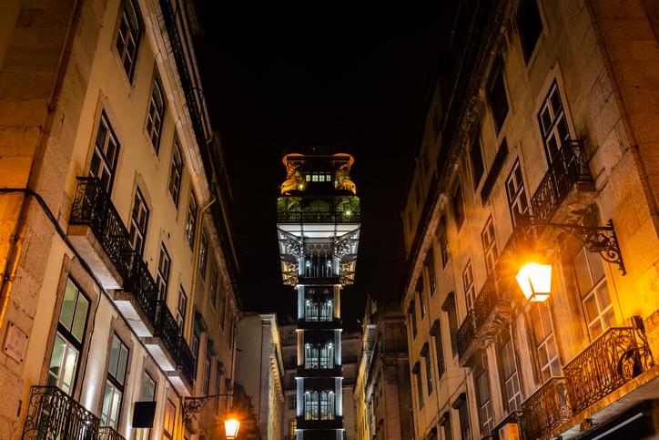 Elevador de Santa Justa in Lisbon at night